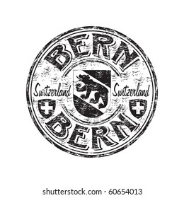 Black grunge rubber stamp with bear silhouette the symbol of the city of Bern the capital of Switzerland