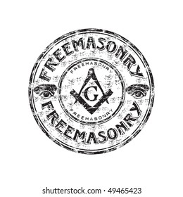 Black grunge rubber stamp with freemasonry symbols and the word freemasonry written inside the stamp