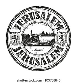 Black grunge rubber stamp with the name of Jerusalem the capital of Israel written inside the stamp