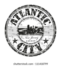 Black grunge rubber stamp with the name of Atlantic City a city from New Jersey, in United States written inside the stamp