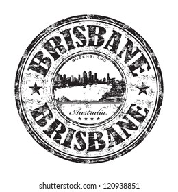 Black grunge rubber stamp with the name of Brisbane city from Australia