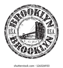 Black grunge rubber stamp with the name of Brooklyn borough from New York City written inside the stamp