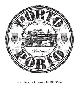 Black grunge rubber stamp with the name of Porto city from Portugal