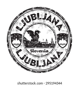 Black grunge rubber stamp with the name of Ljubljana, the capital of Slovenia written inside the stamp