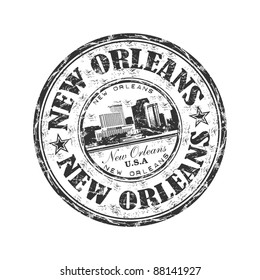 Black grunge rubber stamp with the name of the city of New Orleans written inside the stamp