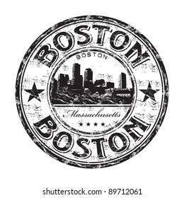 Black grunge rubber stamp with the name of Boston the capital of Massachusetts from United States of America written inside the stamp