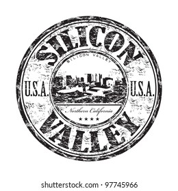 Black grunge rubber stamp with the name of Silicon Valley from Northern California in United States written inside the stamp