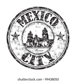 Black grunge rubber stamp with the name of Mexico City, the capital of Mexico written inside the stamp
