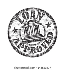 Black grunge rubber stamp with the text loan approved written inside the stamp