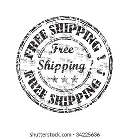 Black grunge rubber stamp with the text free shipping written inside the stamp