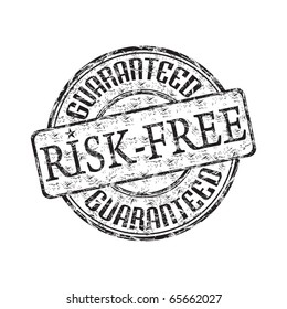 Black grunge rubber stamp with the text risk free guaranteed written inside the stamp