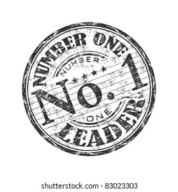 Black grunge rubber stamp with the text number one leader written inside the stamp