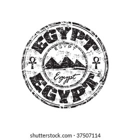Black grunge rubber stamp with three pyramid shapes and the name of Egypt written inside the stamp