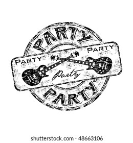 Black grunge rubber stamp with two crossed guitars and the word party written inside the stamp