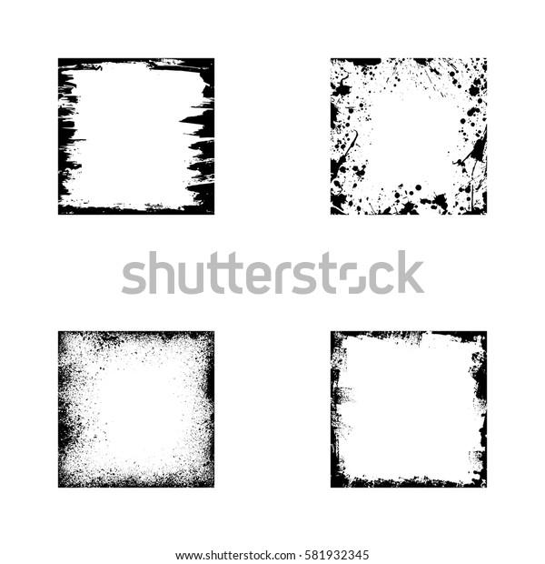 Black grunge square frames isolated on white background