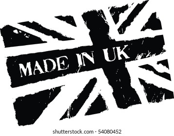 Black grunge stamp with words Made in UK and flag of United Kingdom