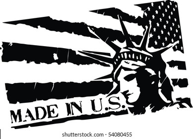 Black Grunge stamp with words Made in US, flag of United States and Statue of Liberty
