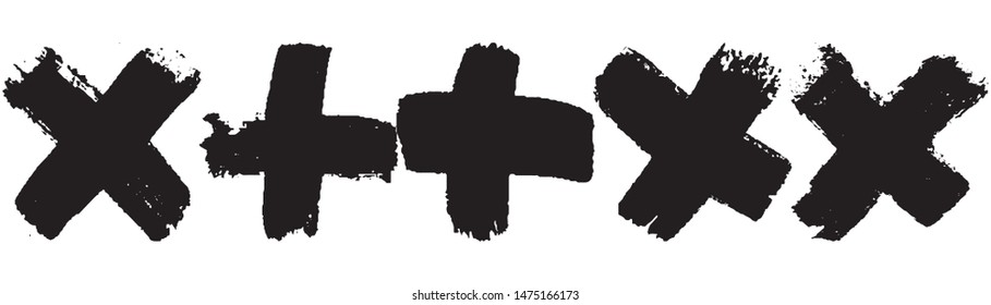 Black grunge style crosses. Abstract paint strokes on white background