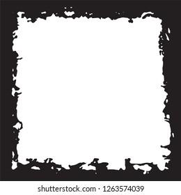 Black grunge style frame on white background
