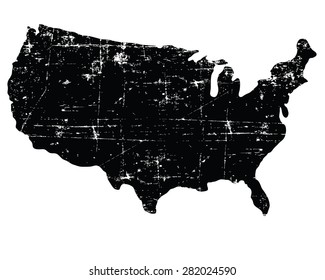 Black grunge USA map