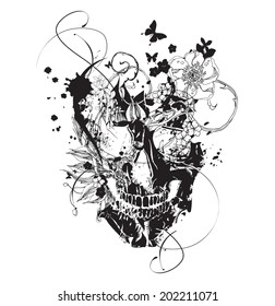 Black grunge vector skull  with flowers