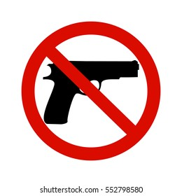 Black gun and red round inhibitory sign. Pacifism concept