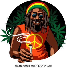 A black guy, a rastaman, with a beard, in round glasses and a colored hat, smokes marijuana. Kanabis Joint. Vector graphics. For a poster.