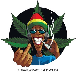 A black guy, a rastaman with a marijuana cigarette, in headphones, shows his middle finger. Template for card, poster, banner, print for t-shirts, badge.