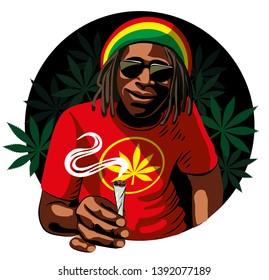 Black guy, rastaman, smokes cant marijuana. Cannabis leaves. Vector isolated.