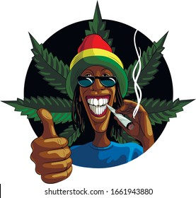 Black guy, rastaman, smokes cant marijuana. Cannabis leaves. Vector isolated. Template for card, poster, banner, print for t-shirts, badge.