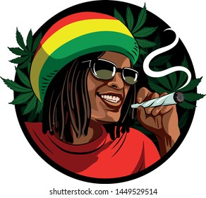 The black guy - rastaman, in a three-colored hat, smokes a cigarette with marijuana. On the background of cannabis leaves. Vector graphics.