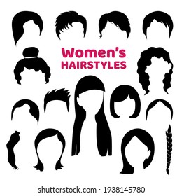 Black hair silhouette collection of fashionable haircuts or hairstyles for girls, isolated on white background. Fashion vector illustration