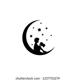 Black half moon and stars and boy with book. Kids fantasy. Isolated on white. Flat design. Vector illustration. Children reading. Fairytale logo.