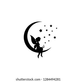 Black half moon and stars and fairy. Magic, fantasy. Isolated on white. Flat design. Vector illustration. Children reading. Fairytale logo.