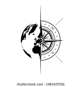 Black half world map and windrose silhouette isolated on white background