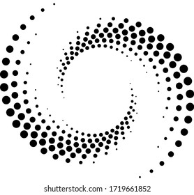 Black halftone dots in vortex form. Geometric art. Trendy design element for frame, logo, tattoo, sign, symbol, web, prints, posters, template, pattern and abstract background