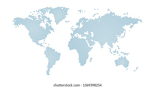 Black halftone dotted blue world map. Vector illustration. Dotted map in flat design. Vector illustration isolated on white background