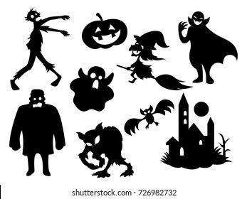 The Black Halloween, mystical characters silhouette pattern cartoon vector.
