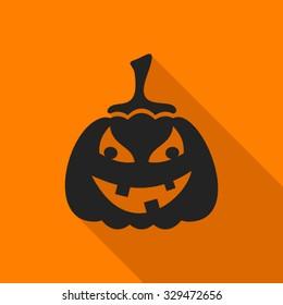 Black halloween pumpkin on orange background flat design