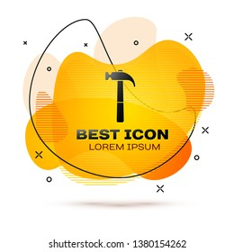 Black Hammer icon isolated on white background. Tool for repair. Fluid color banner. Vector Illustration