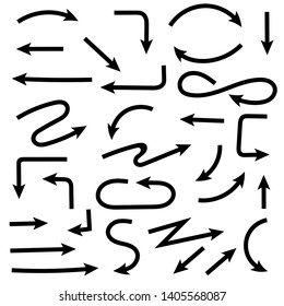 Black hand drawn arrows. Set of doodles. Vector illustration isolated on white background