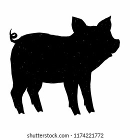 Black hand drawn cute pig grunge style vector black ink silhouette isolated on white background