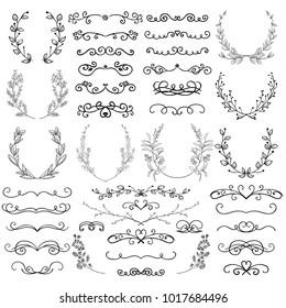 Black Hand Drawn Decorative Outlined Swirls, Scrolls, Dividers, Laurels, Branches, Brackets. Sketched Vector Illustration. Doodles