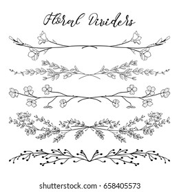 Black Hand Drawn Doodle Dividers, Line Borders with Branches, Herbs, Plants and Flowers. Decorative Outlined Vector Illustration. Floral Dividers