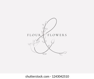 Black Hand Drawn Floristic Feminine Brand Logo Template, Monogram Ampersand with Delicate Flowers, Branches, Plants. Decorative Outlined Vector Illustration. Floral Design Element.
