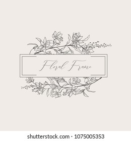 Black Hand Drawn Floristic Frame Border with Delicate Flowers, Branches, Plants with Geometric Shape. Decorative Outlined Vector Illustration. Floral Design Element.