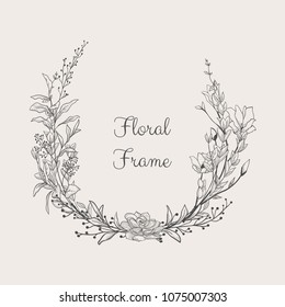 Black Hand Drawn Floristic Frame Border with Delicate Flowers, Branches, Plants. Decorative Outlined Vector Illustration. Floral Design Element.