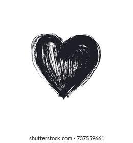 Black hand drawn heart
