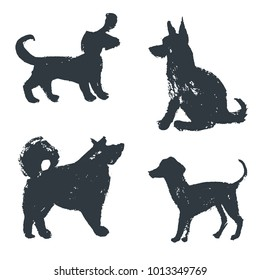 Black hand drawn isolated dogs silhouette. Grunge ink illustration. Vector collection. Different breeds. Dachshund, chao-chao, shepherd dog