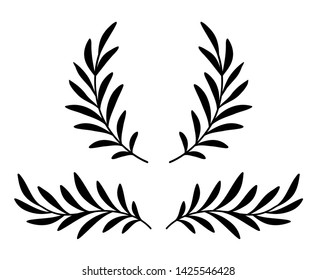 black hand drawn olive branches with leaves, wreath and laurel divider